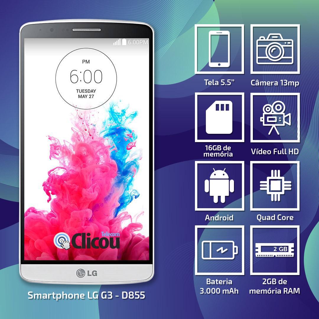 Smartphone LG G3 D855 16gb Tela 5.5 13mp Usado + Capa Brinde