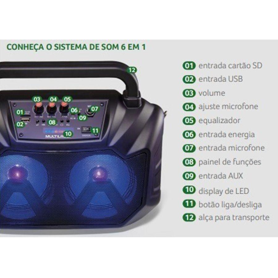 Som Portátil 6 Em 1 Sp289 Multilaser 80w Led Bluetooth Usb