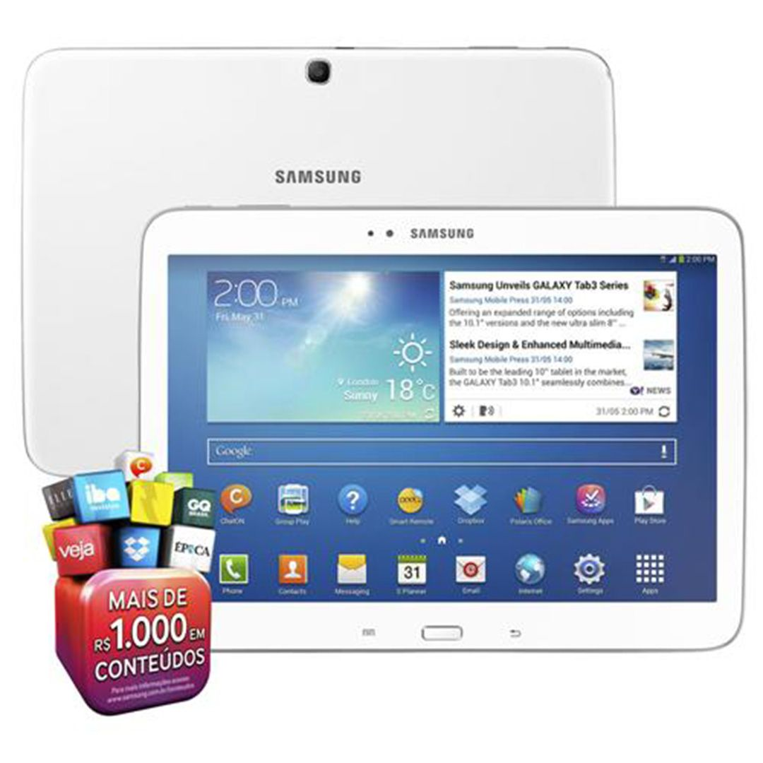 Tablet Samsung Galaxy Tab 3 P5200 Wi-fi 3g 16GB 3MP Vitrine