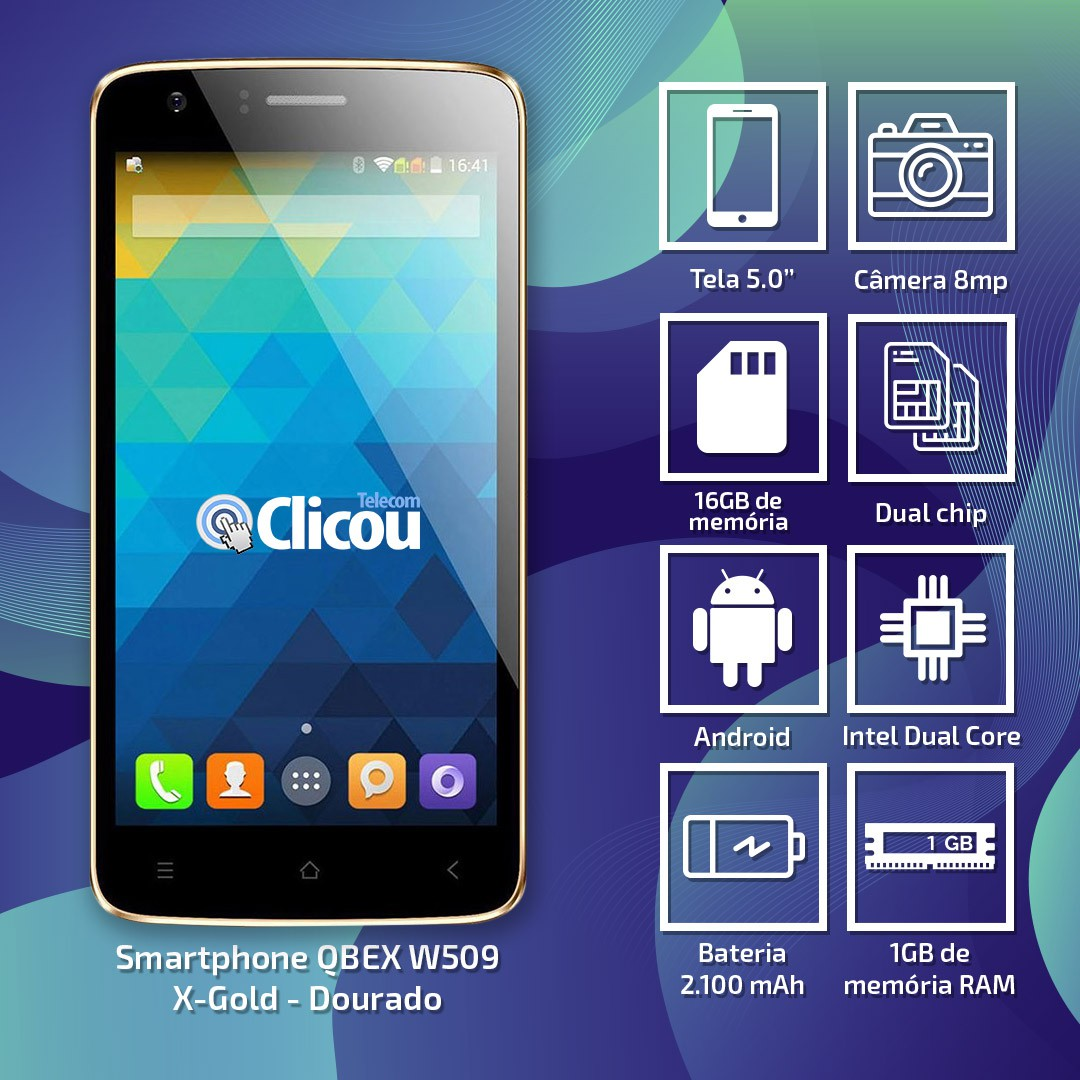 USADO: Smartphone Android Intel W509 X-GOLD Dual 5.0' 16gb Dourado