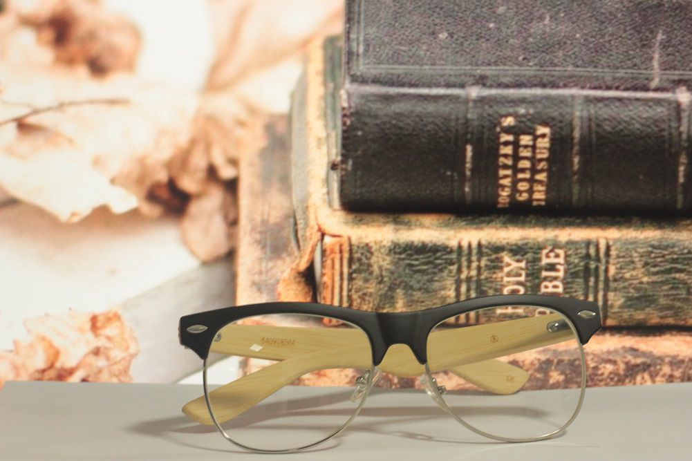 Armação para Óculos de Grau Khatto Bambú Clubmaster - C009