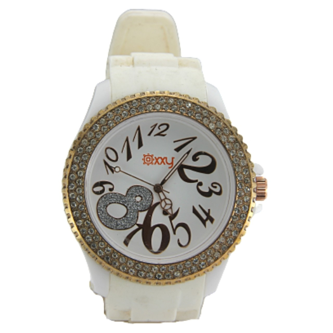 Relógio Oxxy White Fashion Feminino - Branco e Amarelo/Prata