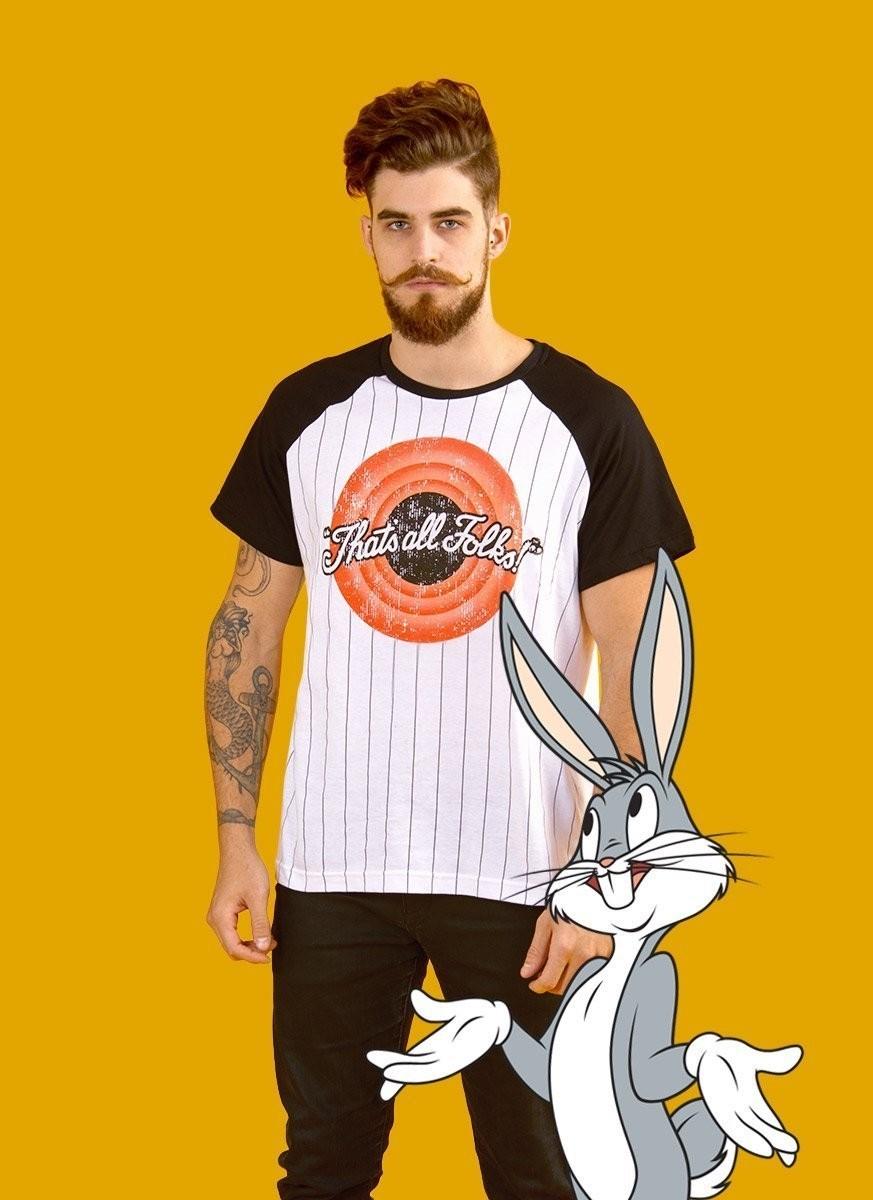 Camiseta Raglan Masculina Looney Tunes That's All Folks