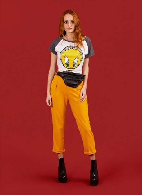 Camiseta Raglan Feminina Piu-Piu Tweety Dots