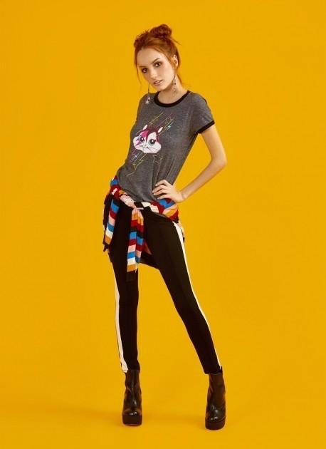 Camiseta Ringer Feminina Looney Tunes Meowie