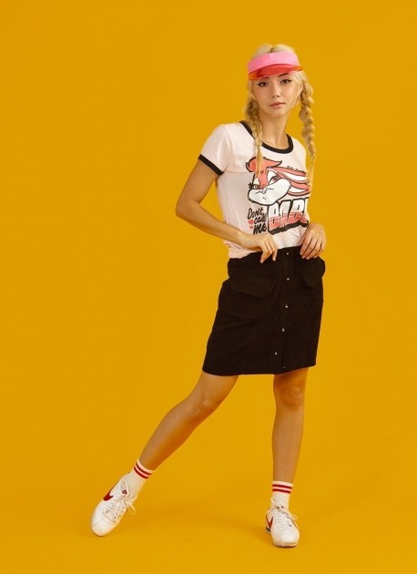 Camiseta Ringer Feminina Lola Bunny Not Your Babe