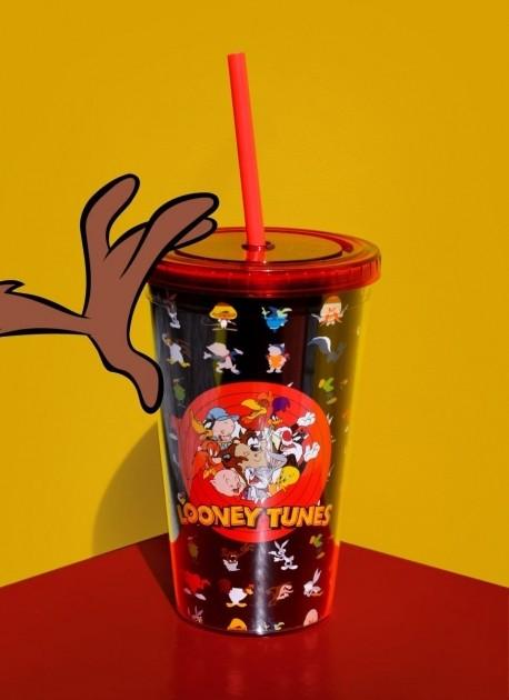 Copo com Tampa e Canudo Looney Tunes Personagens