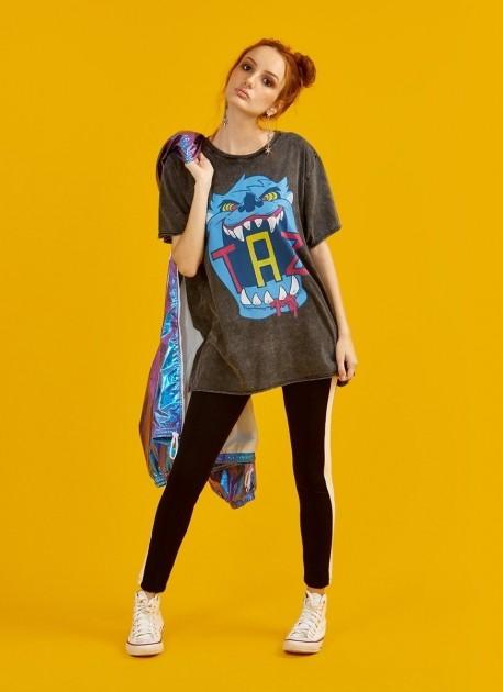 Camiseta Feminina Marmorizada Taz Neon Danger