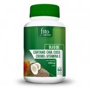 Óleo de Cártamo, Chia, Coco, Cromo e Vitamina E - 60 Cápsulas - 1000mg - Fito Naturais