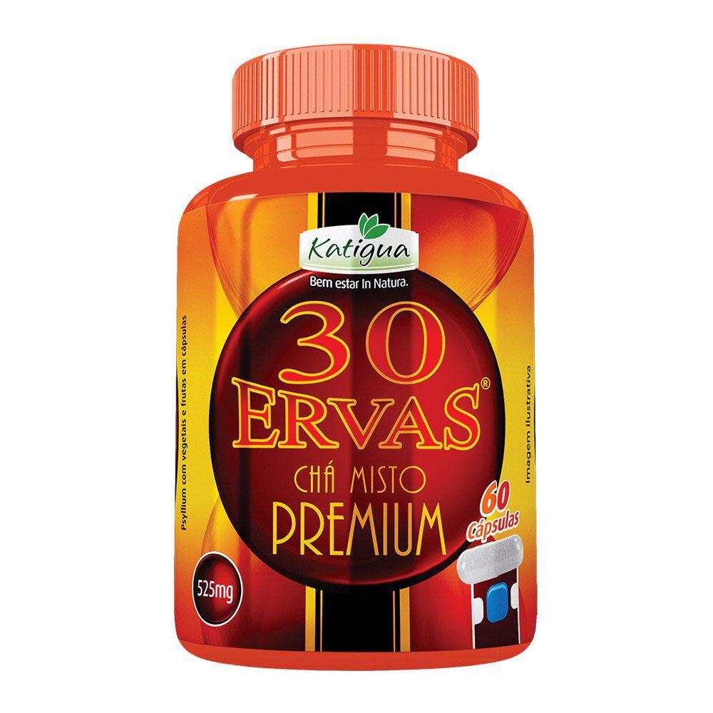 30 Ervas Chá Misto - Premium - 60 cáps. - 525mg - Katigua