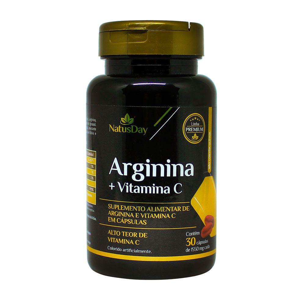 Arginina + Vitamina C - 30 Cápsulas - 1550mg - Natusday