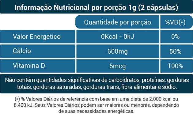Cálcio + Vitamina D3 - 60 Cáps. - 500mg - Fito Naturais