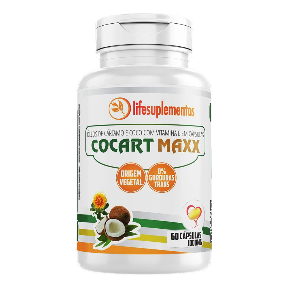 Cártamo e Coco com Vitamina E - Cocart Maxx - 60 Cáps. - 1000mg - Melcoprol