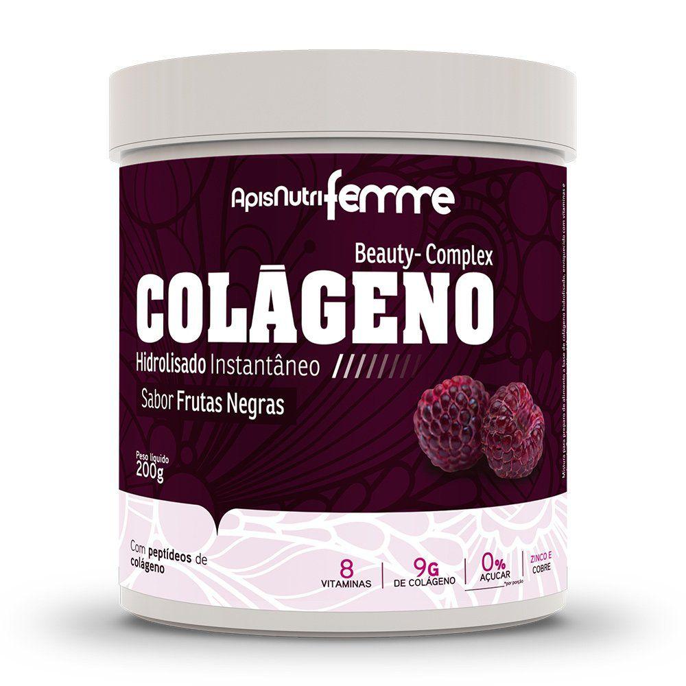 Colágeno Hidrolisado - Sabor Frutas Negras - 200g - Apisnutri