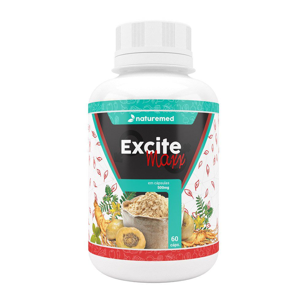 Maca Peruana e Ginseng - Excite Maxx - 60 Cápsulas - 500mg