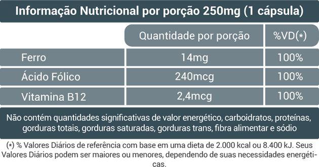 Ferro + Fólico + B12 - 50 Cáps. - 250mg - Fito Naturais