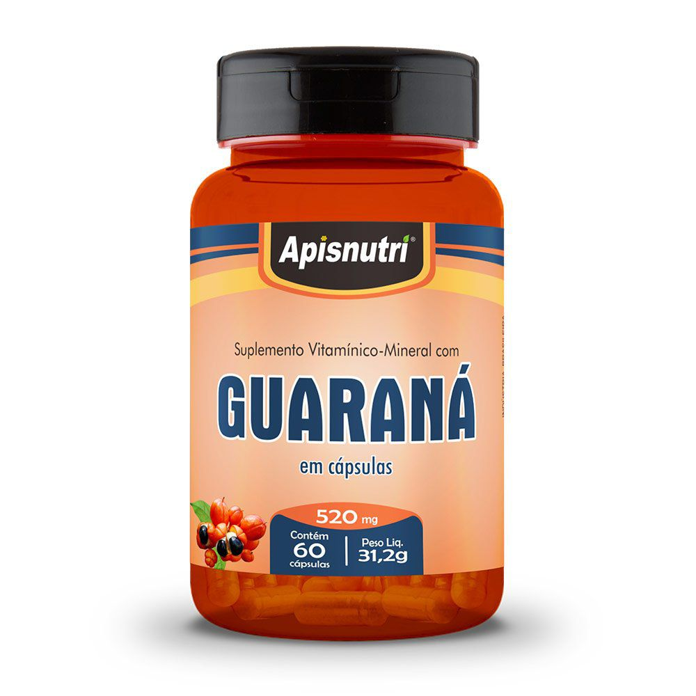Guaraná - 60 Cáps. - 520mg - Apisnutri