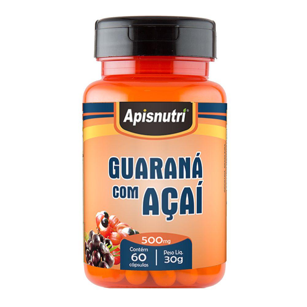 Guaraná com Açai - 60 Cáps. - 500mg - Apisnutri