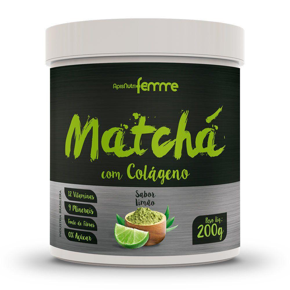 Matchá com Colágeno - Sabor Limão - 200g - Apisnutri