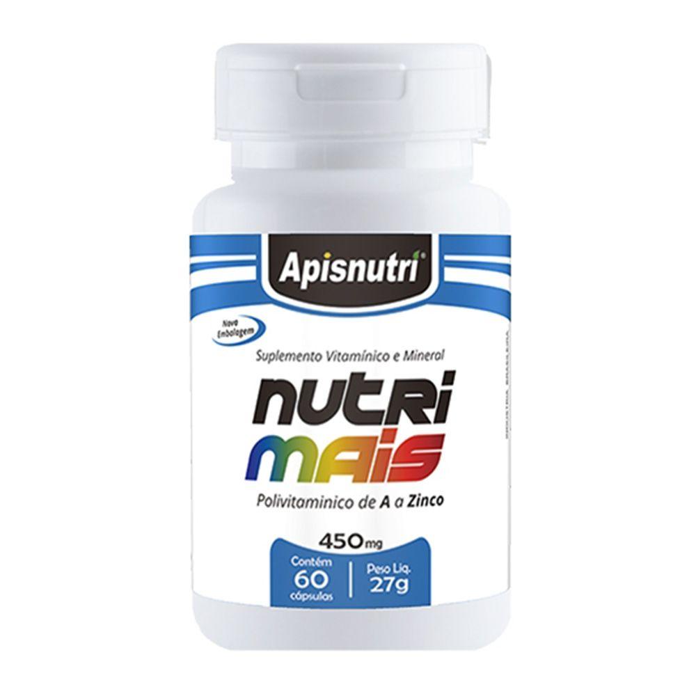 Nutri Mais - Polivitaminico de A a Zinco - 60 Cáps. - 450mg - Apisnutri