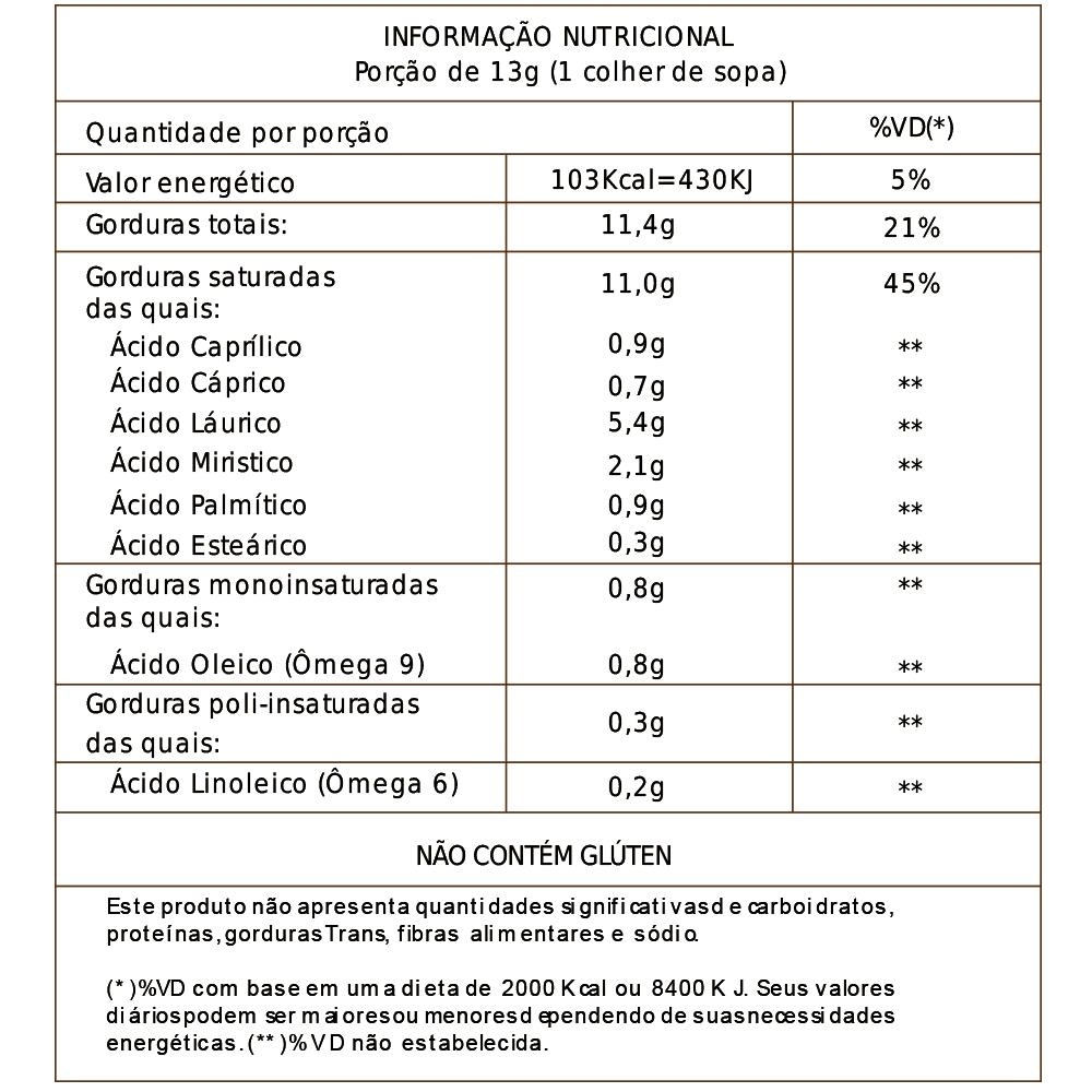 Óleo de Coco - Extra Virgem - 220ml - Vila Alimentos