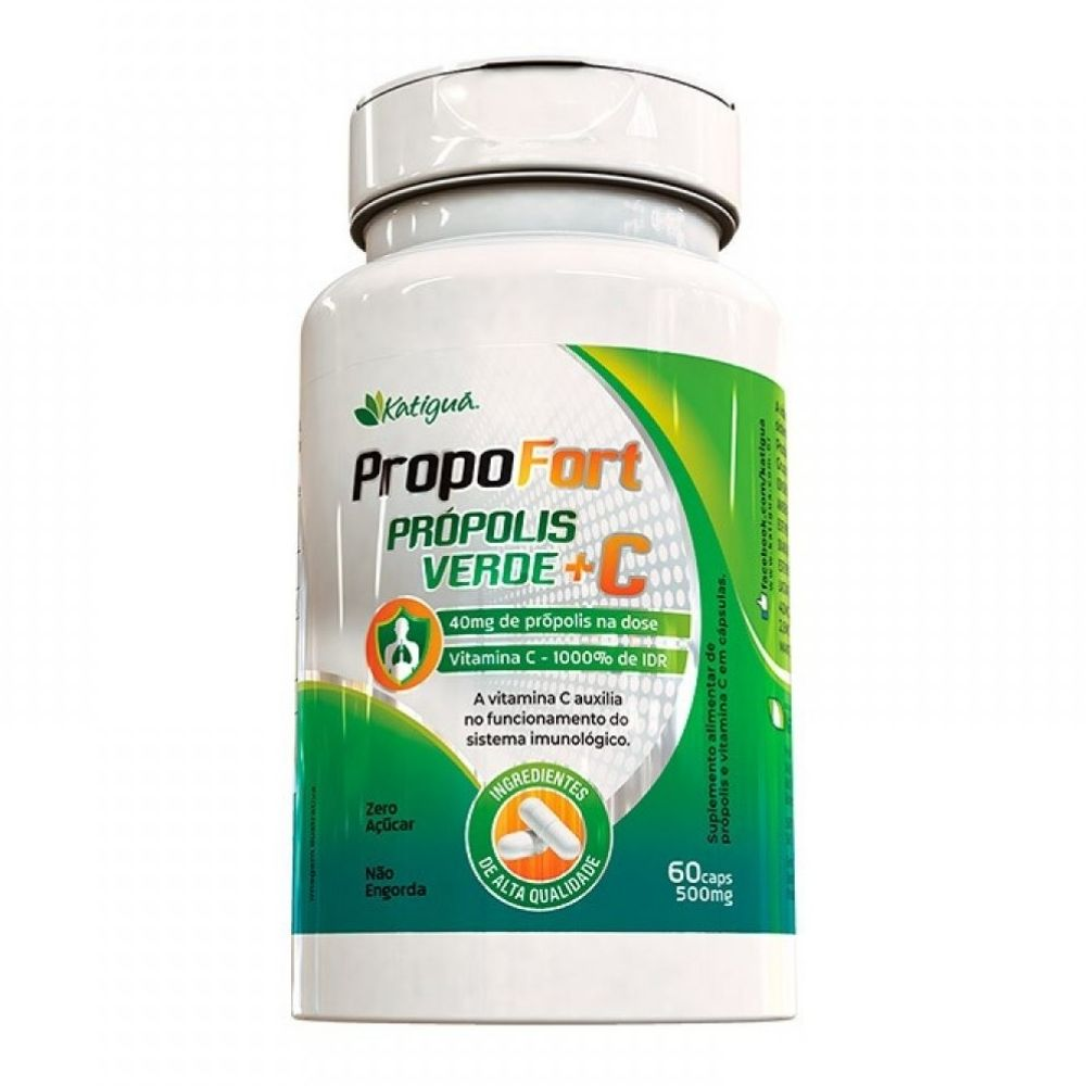 Própolis verde e Vitamina C - Propofort - 60 Cápsulas - Katiguá
