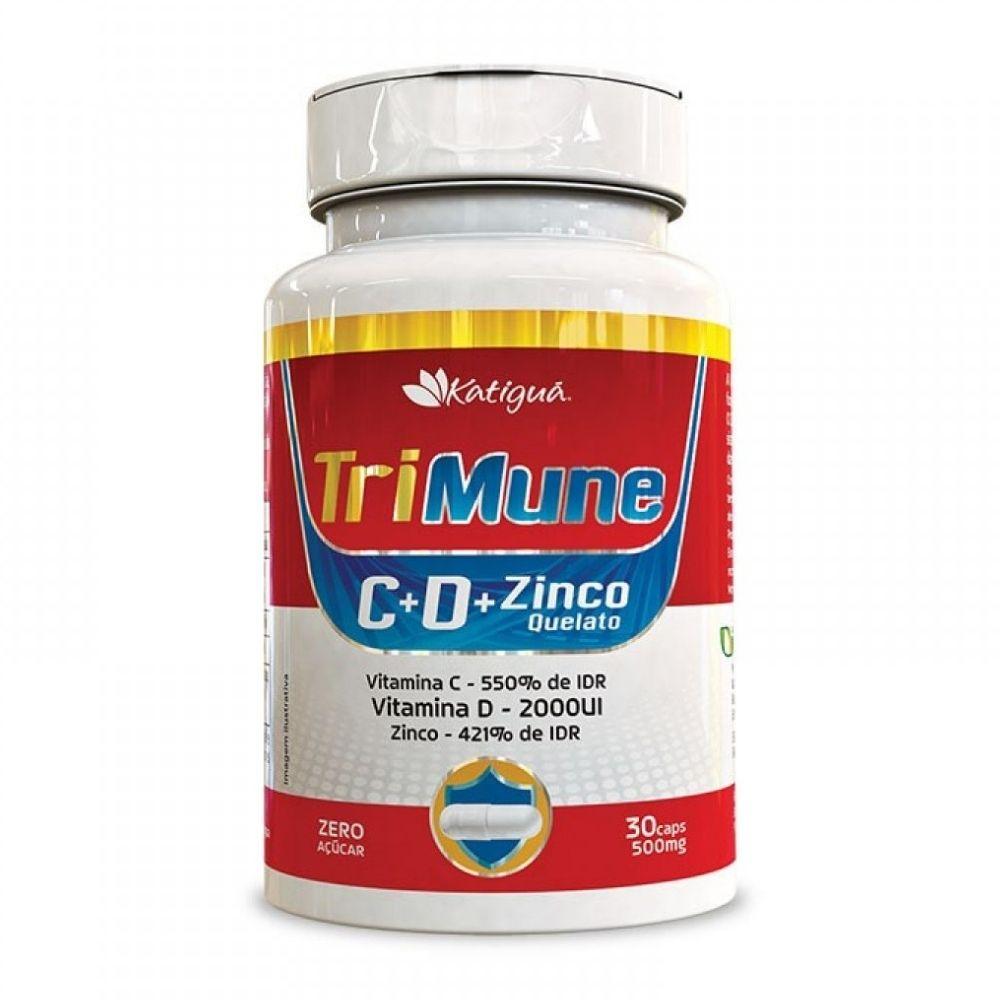 Vitamina C, D e Zinco Quelato -Trimune - 30 Cápsulas - katiguá