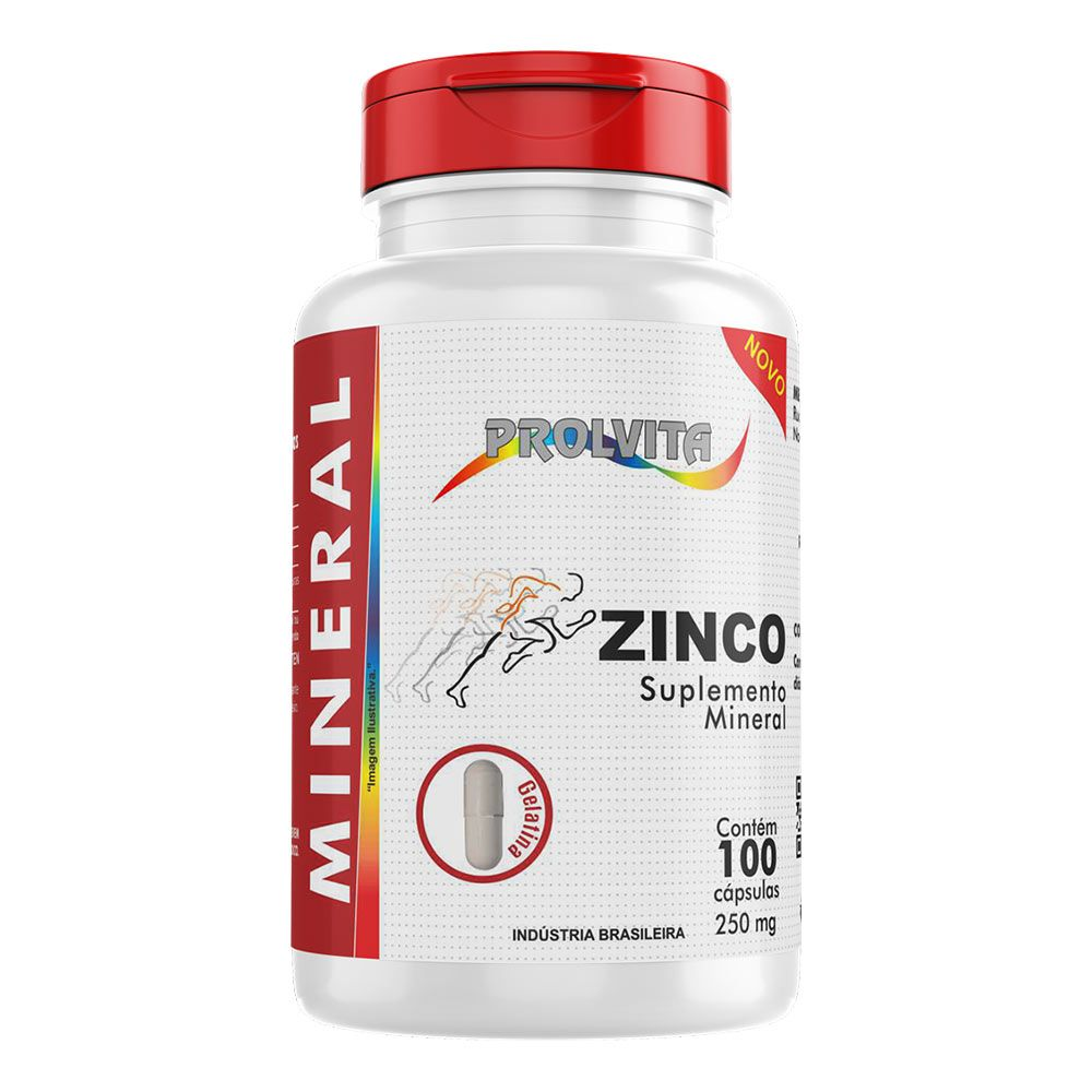 Zinco - Suplemento Mineral - 100 cáps. - 250mg - Melcoprol
