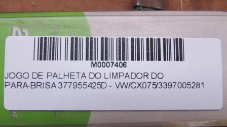 JOGO DE PALHETA DO LIMPADOR DO PARA-BRISA 377955425D - VW/CX075/3397005281