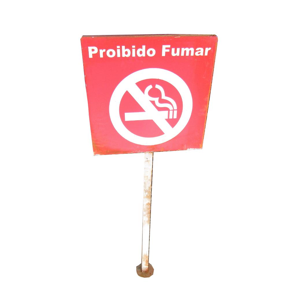 PLACA SINALIZ PROIBIDO FUMAR 62X62X2CM