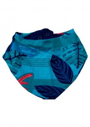 Babador Bandana Bebê Azul Folhas - Malwee