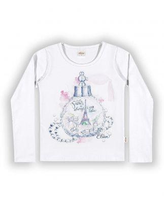 Blusa Infantil Feminina Feminina Inverno Branca Paris Elian
