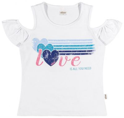 Blusa Infantil Feminina Branca Love Elian