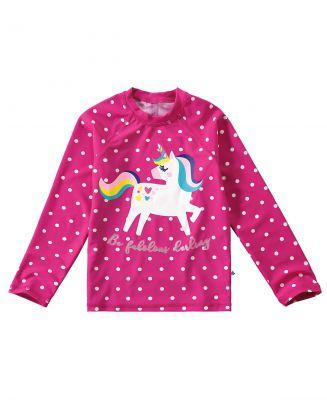 Blusa Térmica Infantil Com Proteção UV 50+ Rosa Unicórnio Malwee
