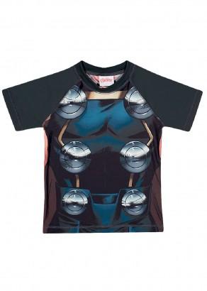 Blusa Infantil com Proteção UV 50+ Verão Cinza Thor Tip Top