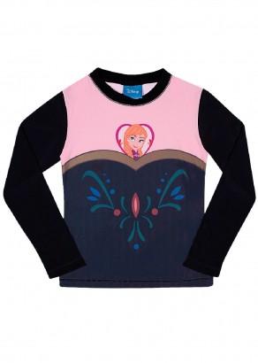 Blusa Infantil com Proteção UV 50+ Verão Preta Anna Frozen Tip Top