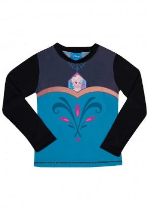 Blusa Infantil com Proteção UV 50+ Verão Preta Elsa Frozen Tip Top