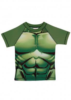 Blusa Infantil com Proteção UV 50+ Verão Verde Hulk Tip Top