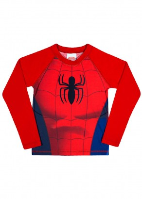 Blusa Infantil com Proteção UV 50+ Verão Vermelha Spiderman Tip Top