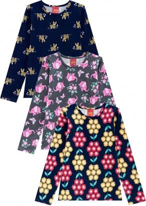 Blusa Infantil Feminina Kit 3 Amarelo Flores - Kyly