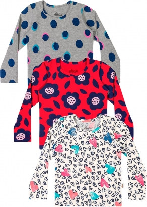 Blusa Infantil Feminina Kit 3 Inverno Offwhite Heats - Elian
