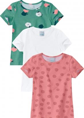 Blusa Infantil Feminina Kit 3 Rosa Poá - Malwee
