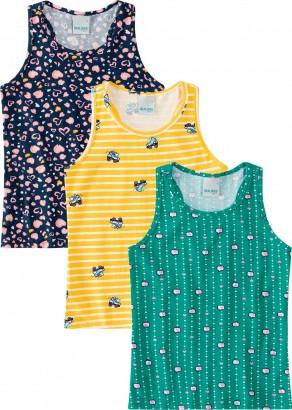 Kit com 3 Blusa Infantil Feminina Coração Malwee