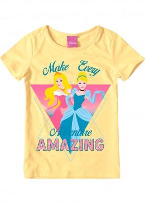 Blusa Infantil Feminina Verão Amarela Princesas Malwee