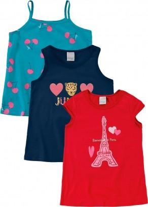Blusa Infantil Feminina Verão Azul Kit 3 Malwee