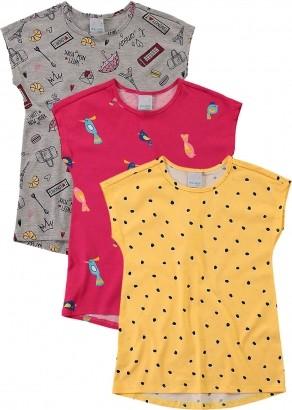 Blusa Infantil Feminina Verão Cinza Kit 3 Malwee