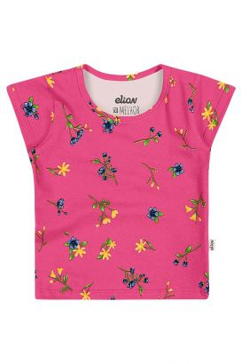 Blusa Infantil Feminina Verão Rosa Flores Elian