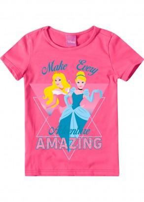 Blusa Infantil Feminina Verão Rosa Princesas Malwee