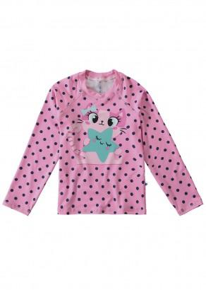 Blusa Térmica Infantil com Proteção UV50+ Rosa Cute Cat Malwee