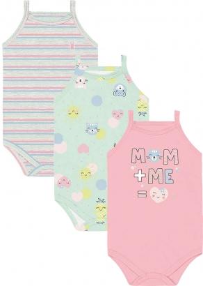 Body Infantil Feminino Verão Kit 3 Rosa Mom+Me - Kiko e Kika